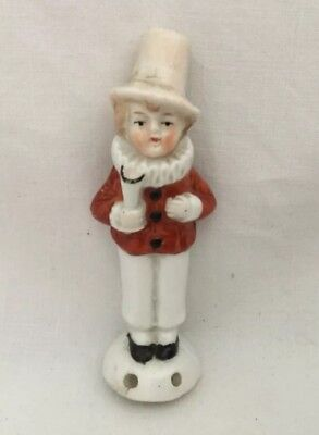 Vintage Antique Porcelain Pin Cushion ? Figurine JESTER Collar Germany Harlequ