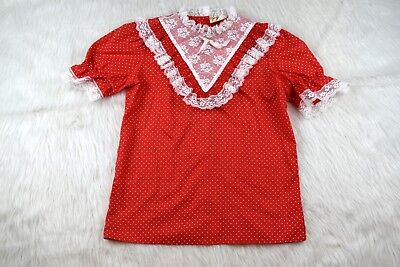 Vintage Jeri Bee Square Dance Red and White Polka Dot Lace Ruffle Blouse Small