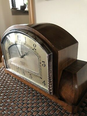 Vintage Mantle Clock . Russells Ltd Time-o-Day Liverpool. Walnut Smiths Movement
