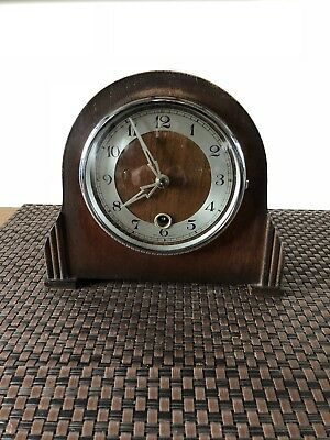 Antique Mantle Clock. British Made Small Oak Case Art Deco GWO. 1940s
