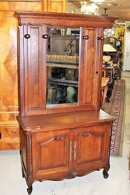 French Antique Oak Louis XV Mirrored Hall Tree / Tall Dresser with Hanging Racks