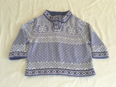 LL Bean Nordic Sweater ~ Girls Size 12-18 Months ~ Periwinkle ~ Adorable
