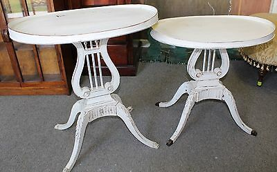 Pair of Painted Vintage Duncan Phyfe Style Lyre Base Accent Tables