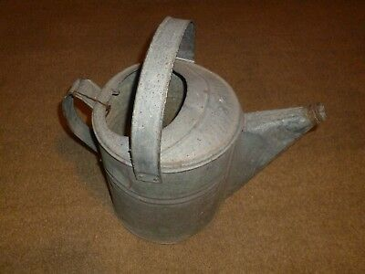 Vintage Galvanized Watering Can with Removable Rusted