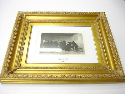 Rare Old ANTIQUE 1883 ART PRINT GOLD WOOD Frame THE WARM HAND BEAUTIFUL GOUPIL