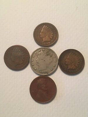 Collection Of V Nickel, Indian Head Cents And Wheat Cent Rare NO RESERVE $.99!!