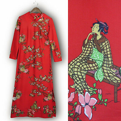 Vtg 70s Red CHINESE GODDESS DRESS Tang Dynasty Lady Bird Print Asian Costume M