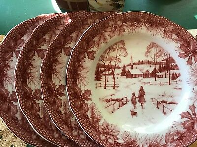 Set of 4 222 Fifth Christmas Poinsettia Toile Red Salad Plates Snow Scene