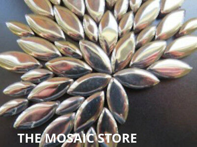 Silver Ceramic Petals - Mosaic Art & Craft Supplies Tiles