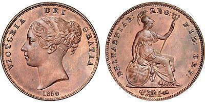 GREAT BRITAIN Victoria 1854 CU Penny NGC MS63BN KM-739 Plain trident