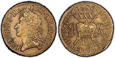 IRELAND 1690 May Brass 1/2 Crown PCGS AU58 KM-95; SCBC-6580B.