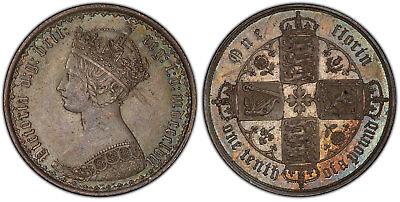 GREAT BRITAIN Victoria 1857 AR Florin, Two Shillings PCGS MS64 Gothic type.