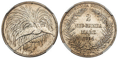 GERMAN NEW GUINEA 1894-A AR 2 Mark NGC MS61PL Bird of Paradise Impaired proof?