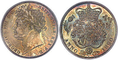 GREAT BRITAIN George IV 1820 AR Halfcrown NGC MS66 Gorgeous iridescent toning