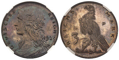 GERMANY, WEIMAR REPUBLIC 1925 AR Pattern 3 Mark NGC PR63 Rare in silver.