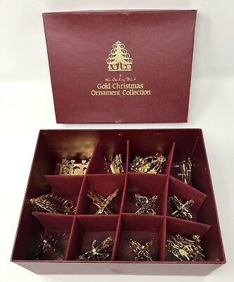 Danbury Mint Gold Christmas Ornaments - Lot of 12 - 11 from 1987 And 1 from 1977