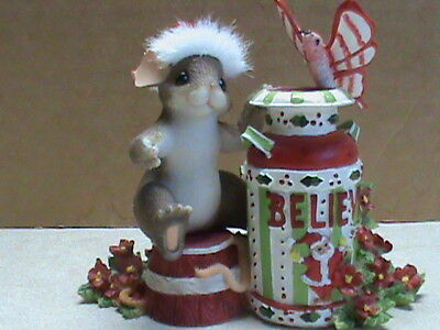"""Charming Tales Mice, """"Asingle word can say so much BELIEVE """" figurine , 26"""