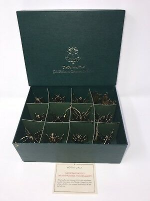 Danbury Mint Gold Christmas Ornaments Collection 1980 Set of 12 with Box