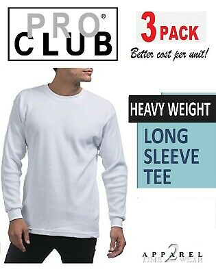 969363e97 Pro Club 3 Pack T-Shirt Heavy Weight Long Sleeve Tee Crew Neck. Proclub