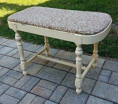 Vintage French Victorian bench vanity chair seat stool wooden shabby antique
