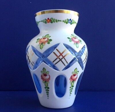 ANTIQUE HAND PAINTED BOHEMIA GLASS MOSER VASE 24k Gold 6,3 in