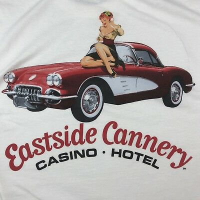 Eastside Cannery Casino Hotel T Shirt Pin Up Redhead Girl Classic Car Size M