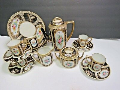 18 Pieces Nippon Demitasse Coffee Set Hand Painted Black Gold Floral Cups Plates