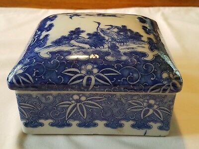 Antique Beautiful Chinese Porcelain Blue and White Box .. Cranes & Lotus Flowers
