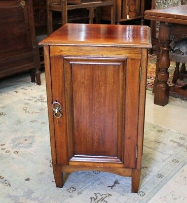 Mahogany Wood Small Antique Single Door Cabinet Nightstand w.1 Drawer, 2 Shelves