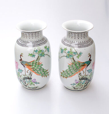 Large Vintage Chinese Porcelain Peacock Vases Hand Painted Floral Asian Symbols