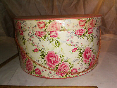 Antique Round Cardboard Hat Box with Pink Roses