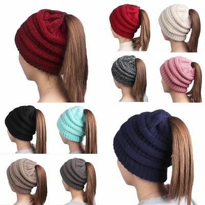 Winter Women Girl Stretch Knit Hat Messy Bun Ponytail Beanie Holey Warm Hats Hot