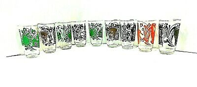 "Vintage Kraft Jelly/Juice Glasses In The ""Antique"" Pattern. Lot Of 9. Excellent!"
