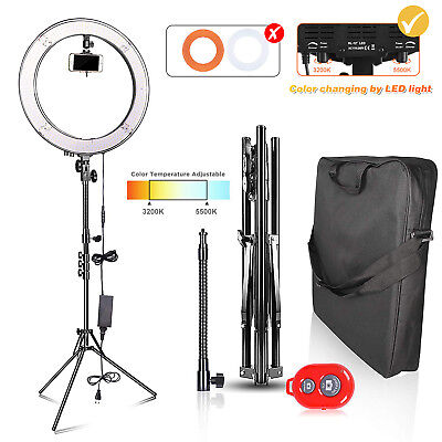 "LED "" Ring Light 5500K Dimmable+Universal Adapter w/US Plug Makeup Youtube"