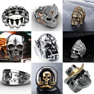 Souvenir Cool Men Stainless Steel Gothic Punk Skull Head Boy Biker Finger Ring