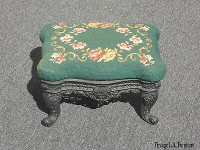 Vintage French Provincial Green Needlepoint Footstool Ornate Iron Base