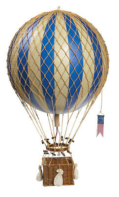 "Royal Aero 22"" Blue Hot Air Balloon w/ Rattan Basket & Rope Net"