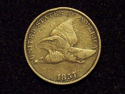 1857 Flying Eagle Cent, SNOW 3, Double Die of Eye and Legend