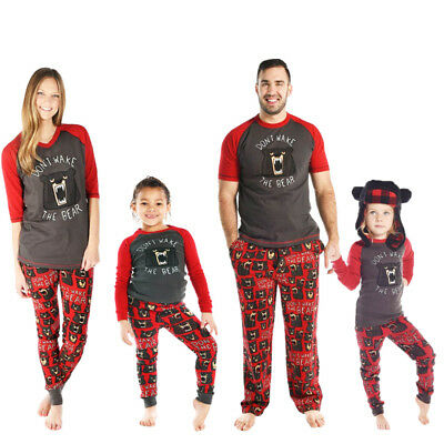 AU Family Matching Christmas Pajama Sets Cotton Printing Sleepwear For Famliy