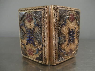 Antique Enamel and Filigree Miniature Folding Picture Frame or Box Asian Motif