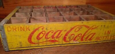 Wooden Coca-Cola crate 24 bottle carrier yellow & red MFG 10- 1966 original