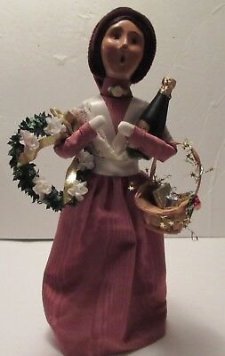 """Byers' Choice Carolers Victorian Shopper, 13"""" Tall, With Wreath, Wine and Basket"""