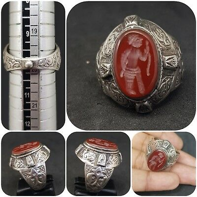 Solid silver Rare Old Ring with king empire wonderful intaligo Agate stone #4G