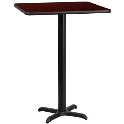 """New 30"""" Square Mahogany Laminate Table Top With 22"""" X 22"""" Bar Height Table Base"""