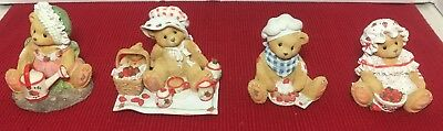 Cherished Teddies Set of 4 Strawberry Collection Figurines