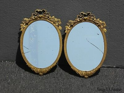 Pair of Two Oval French Provincial Ornate Gold Solid Brass Wall Mirrors As-Is