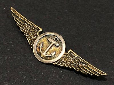 WWII US Navy Marines Observer Wings Sterling Silver Anchor Gold Vanguard