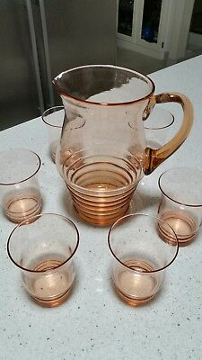 Water Set from the 50's is just Gorgeous. Vintage Pink Water Set