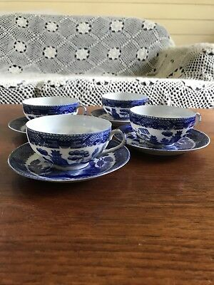 Vintage Four Japanese Blue Willow Tea Cups and Saucers With Geisha Lithophanes