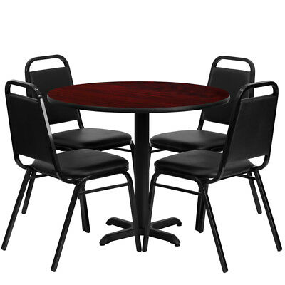 "36"" Round Mahogany Laminate Table Set W/ 4 Black Trapezoidal Back Chairs"